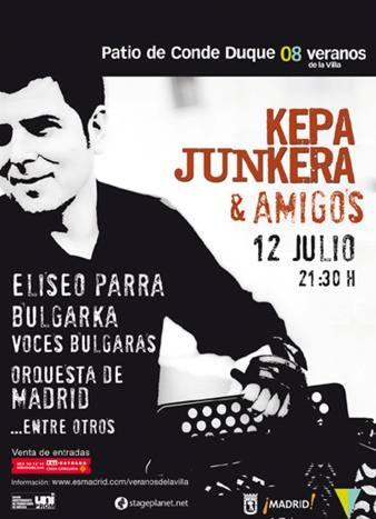 Cartel concierto Kepa Junkera y la Joven Orquesta de Madrid, 12 julio 2008