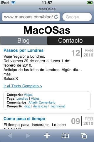 Pantallazo de MacOSas.com para iPhone