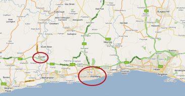 Mapa de situación de Worthing y Arundel en la costa sur inglesa